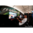 Lewis Hamilton racing with Playseat® Grand Prix at the F1 Gamezone